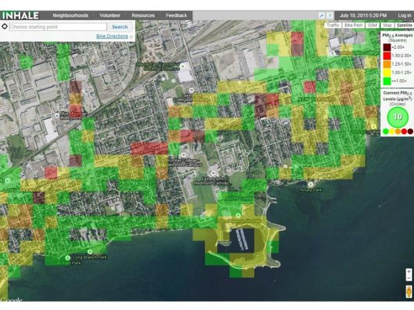 大気汚染状況の測定データを可視化したトロント市のマップ