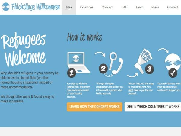 オンラインプラットフォーム「Flüchtlinge Willkommen」のトップページ