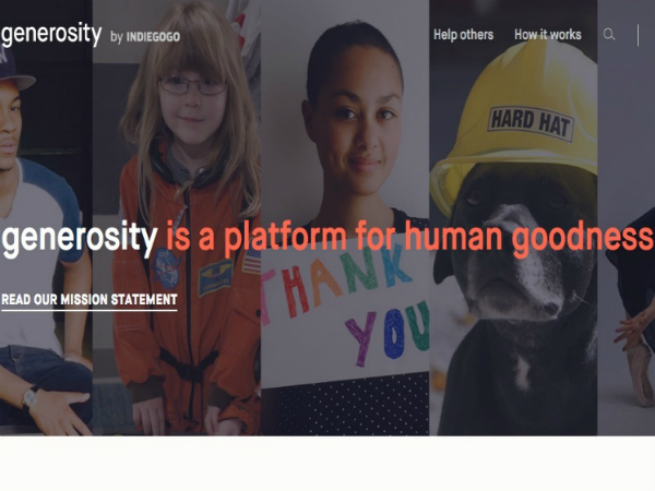 Indiegogoが開設した新クラウドファンディングプラットフォーム「Generosity」