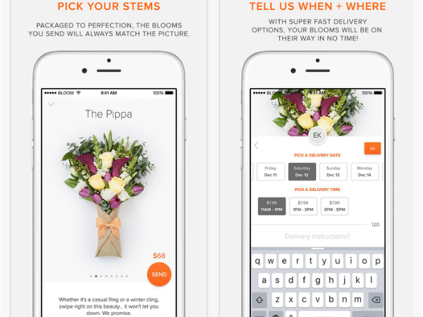 「BloomThat」のスマホアプリ画面