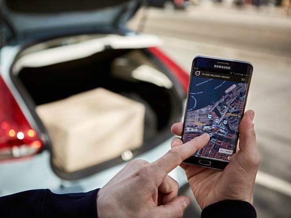 配達人はスマートフォンで配達先を確認する仕組み