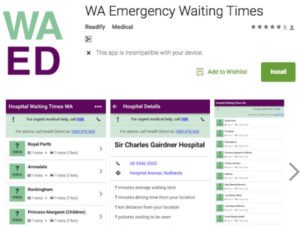 救急病院の待ち時間を検索できるスマートフォンアプリ「WA Emergency Waiting Time」