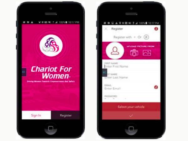 「SafeHer」のスマホアプリ画面