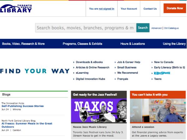 トロント公共図書館の公式ウェブサイト