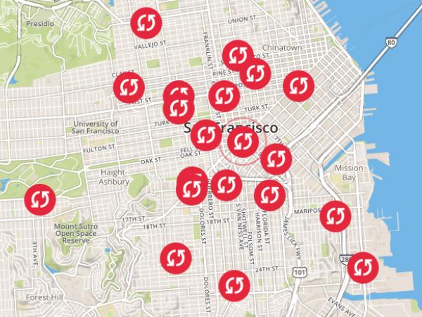 サンフランシスコを中心に広がる「Swapbox」の設置スポット