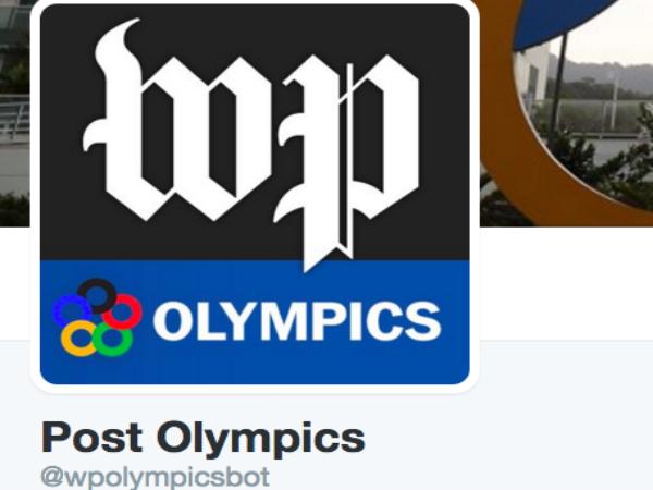 ワシントンポストが自動投稿するリオ五輪の専用ツイッターアカウント