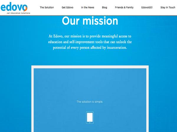 受刑者向け遠隔教育プログラム「Edovo」の公式ウェブサイト
