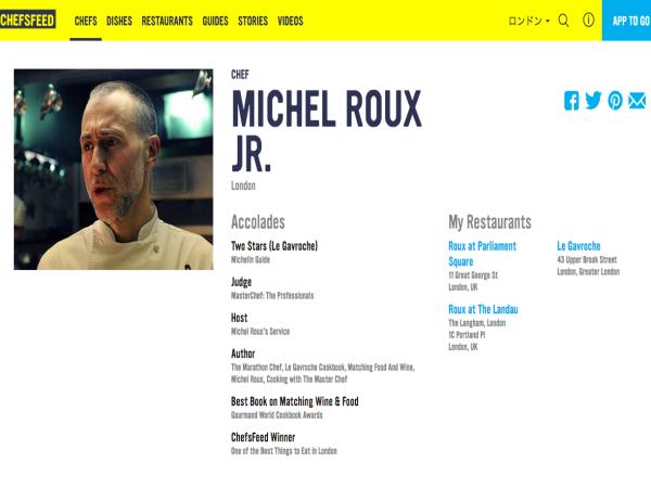 ロンドンで活躍するMichel Roux jr.氏のページ