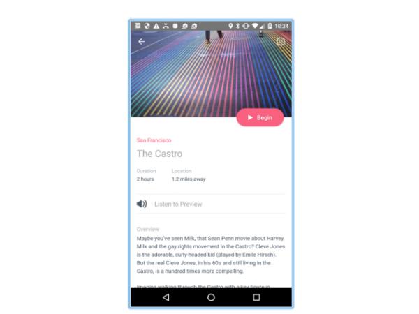 スマホアプリ「Detour」の画面
