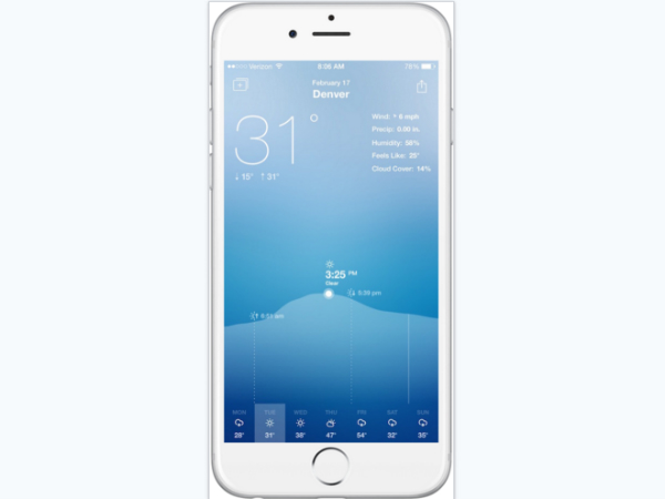 「Fresh Air Weather」のアプリ画面