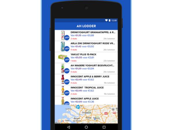 スマホアプリ「Afgeprijsd」の画面