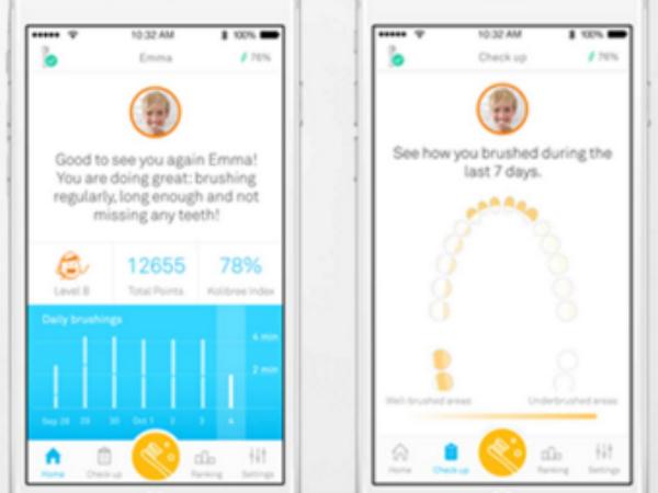 専用アプリでビジュアル化された歯磨きレポート