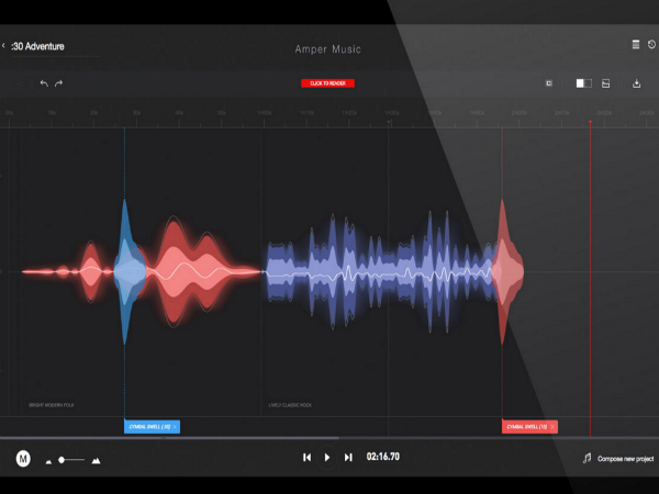 Amper Musicの画面