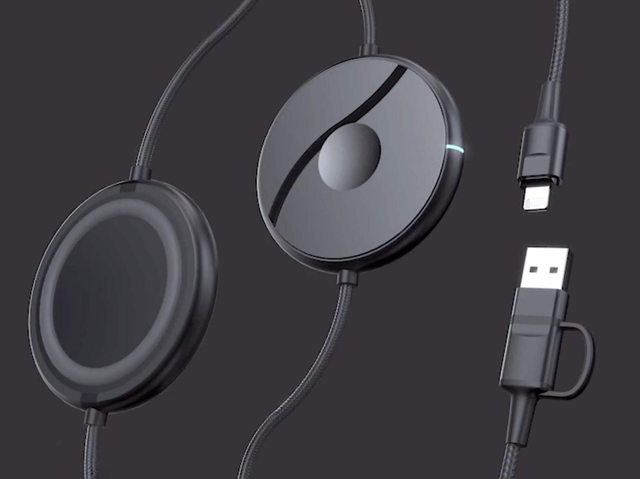 スマホとスマートウォッチをケーブルとワイヤレスで同時充電できる「Snapon」