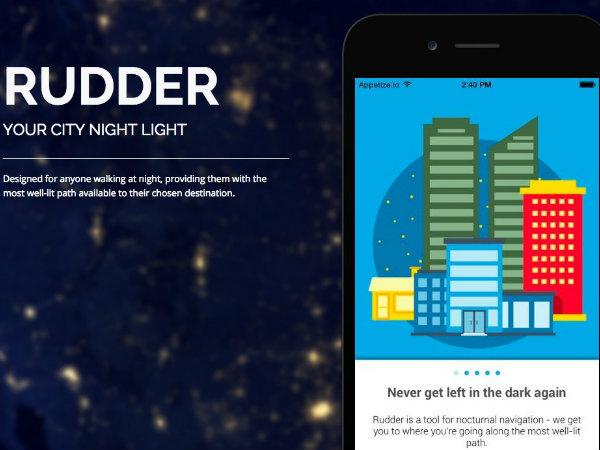 夜間歩行者のための経路検索アプリ「Rudder」