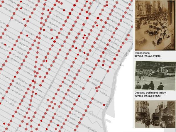 NYの古い写真をマップ上で表示する「OldNYC」