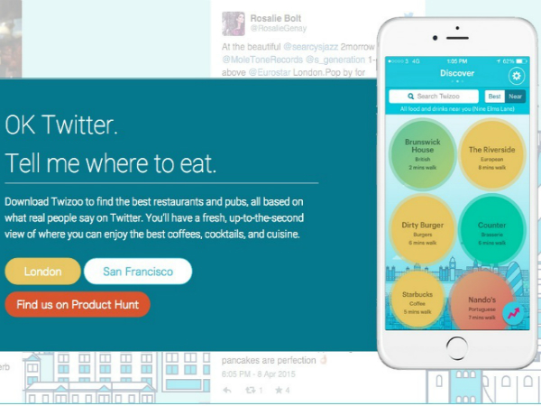 ツイートを活用した口コミプラットフォーム「Twizoo」の画面サンプル