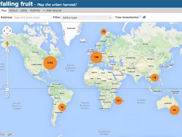 グローバルな収穫マップ「Faling Fruit」