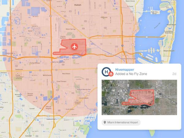 Hivemapperの飛行禁止区域を示すマップ