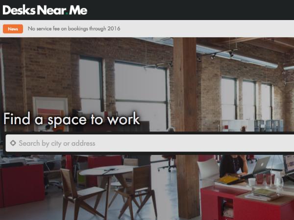 貸しオフィスのためのマーケットプレイス「Desks Near Me」トップページ