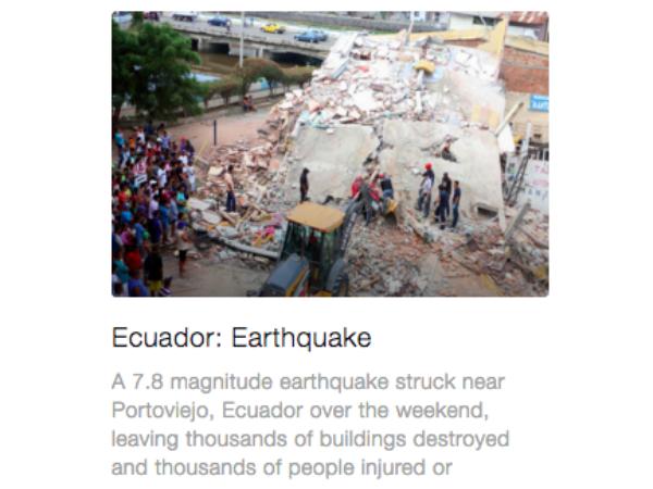 甚大な被害をもたらしたエクアドル地震