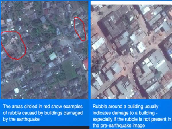 衛星画像にマーキングした例