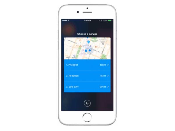カーシェアリングサービスCar2Goの位置情報を表示する「TriMet Ticket」