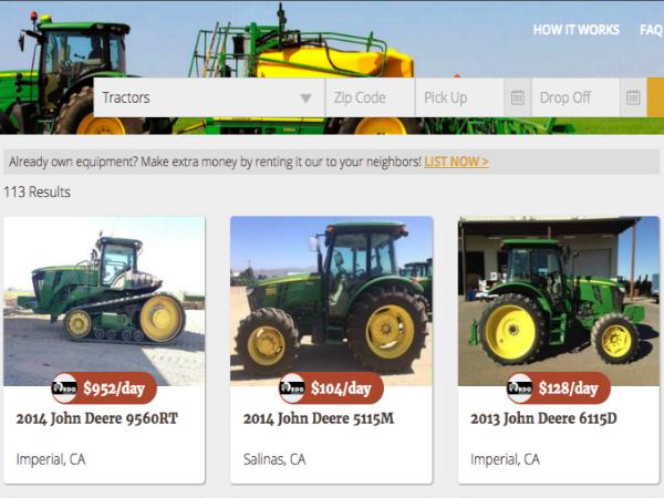 「MachineryLink Sharing」で貸し出されているトラクターのページ