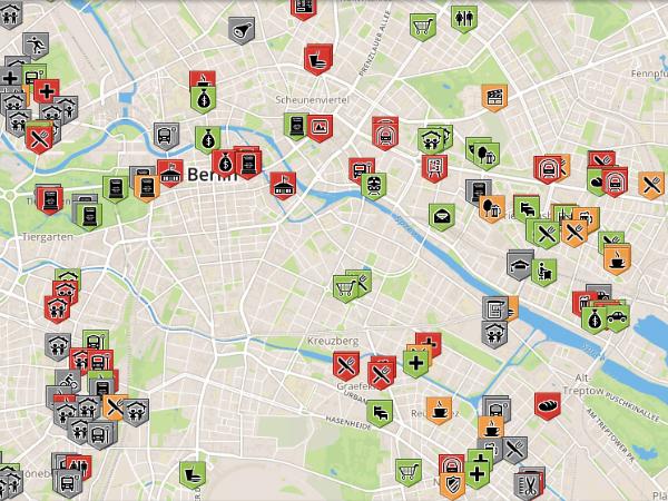 Wheelmapでマッピングされたベルリンのバリアフリースポット
