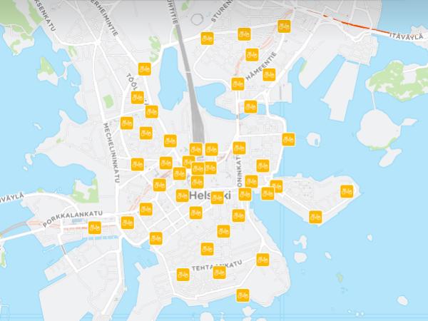 ヘルシンキ市内に展開するCity bikesのシェアスポット