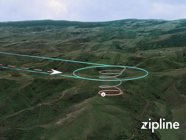 専用ドローン「Zip」の飛行ルート