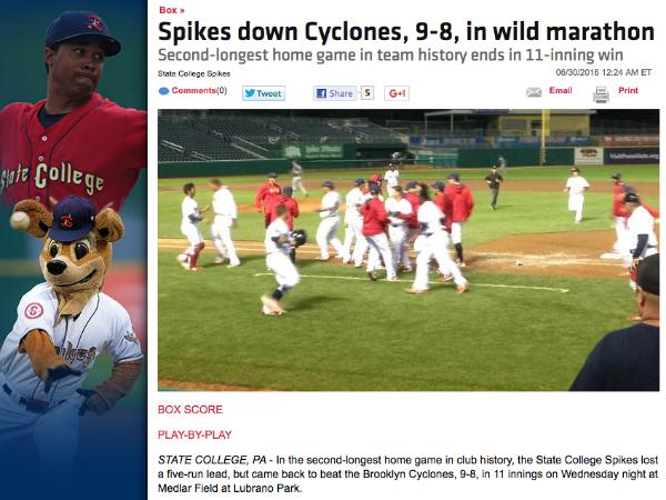 自動生成されたマイナーリーグの試合ニュース