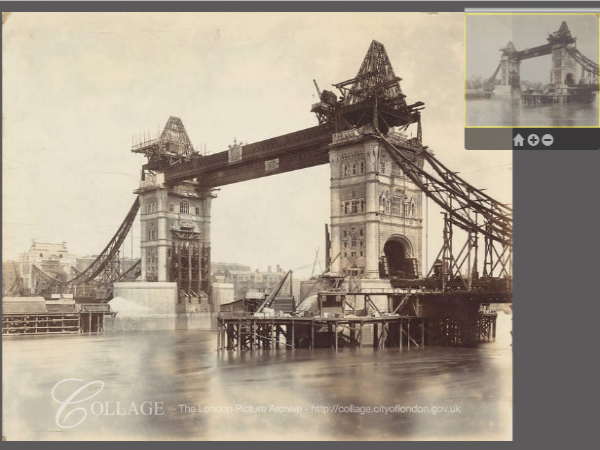 London Picture Map上にマップされた建設中のタワーブリッジ
