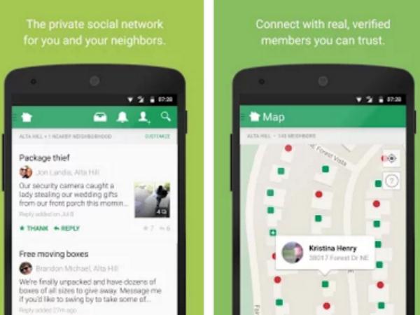 Nextdoorのスマホアプリ画面