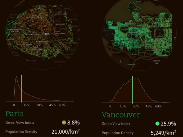 「Treepedia」でのバンクーバーとパリの比較