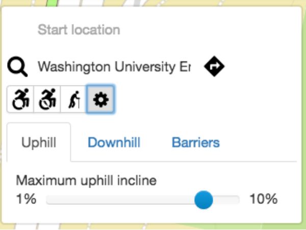 AccessMapの条件設定画面