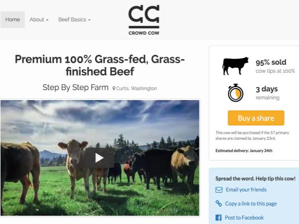 「CrowdCow」の牛肉販売ページ