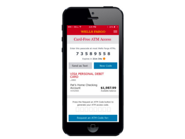 Wells Fargoのスマホアプリ画面