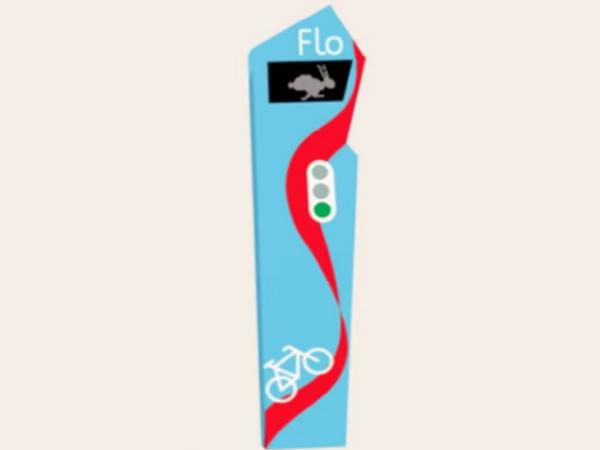 道路脇に設置するポール方式の「Flo」