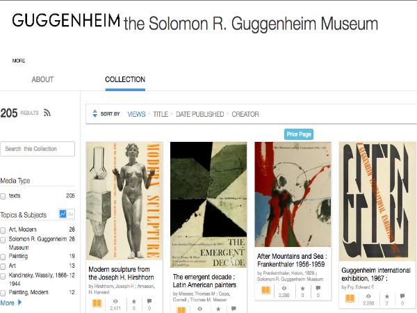 グッゲンハイム美術館の蔵書が公開されているウェブページ